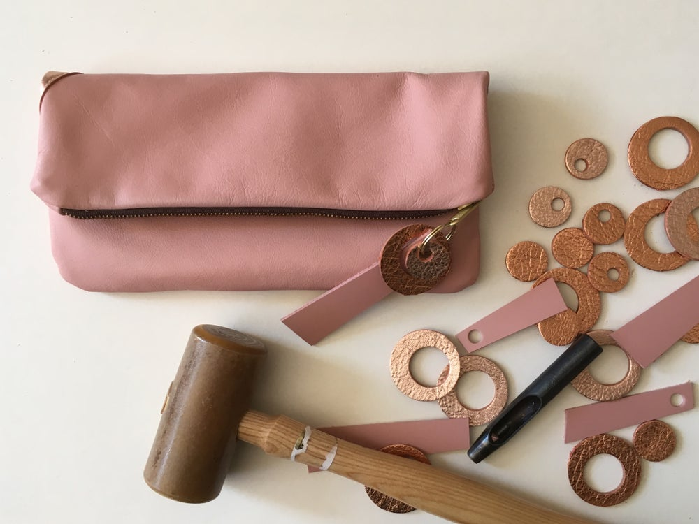 Image of Foldover leather clutch