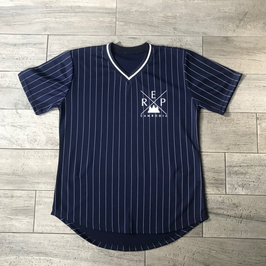 Image of Blue Pinstripe V-neck Jerseys