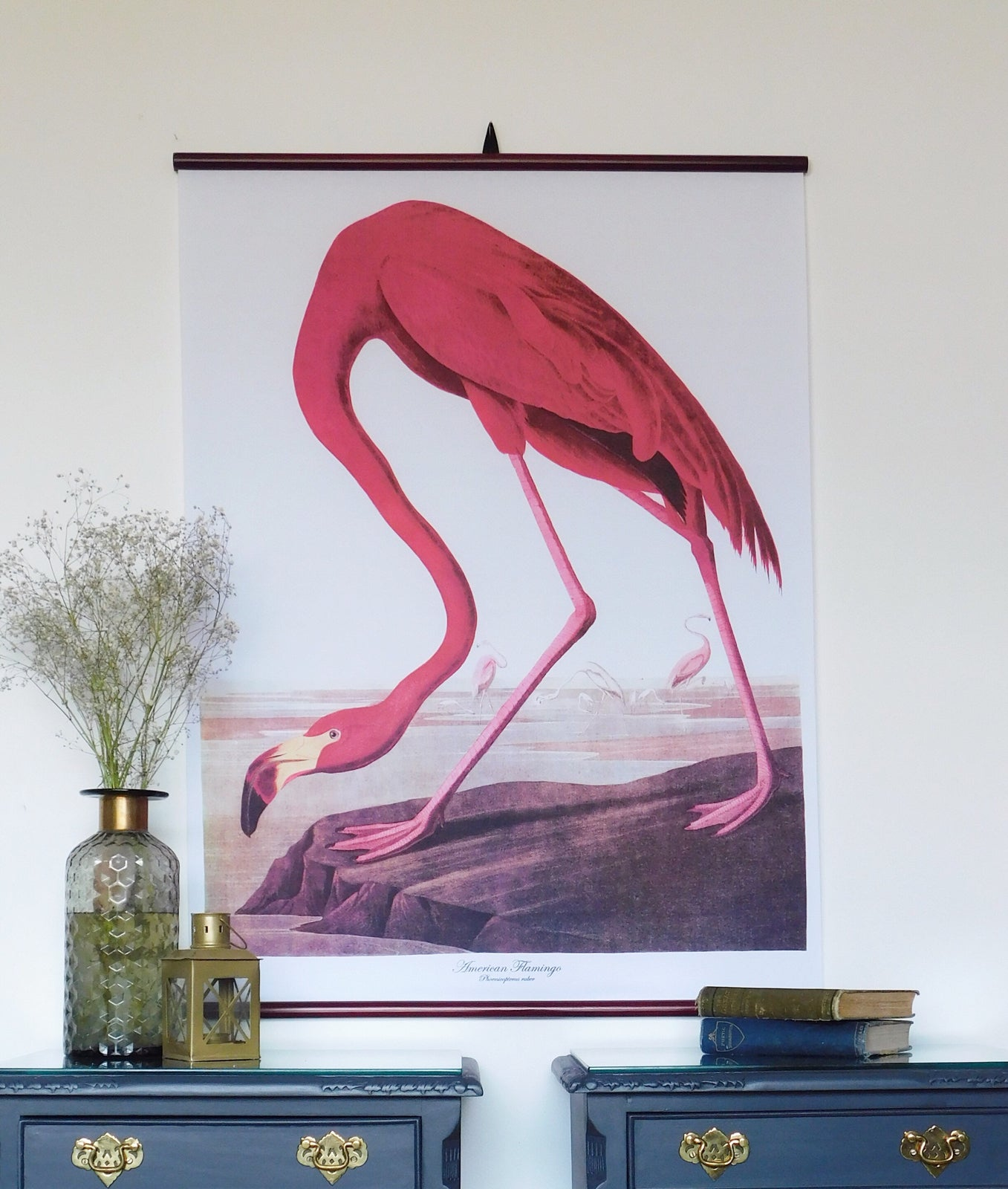 Image of Large flamingo cotton wall chart