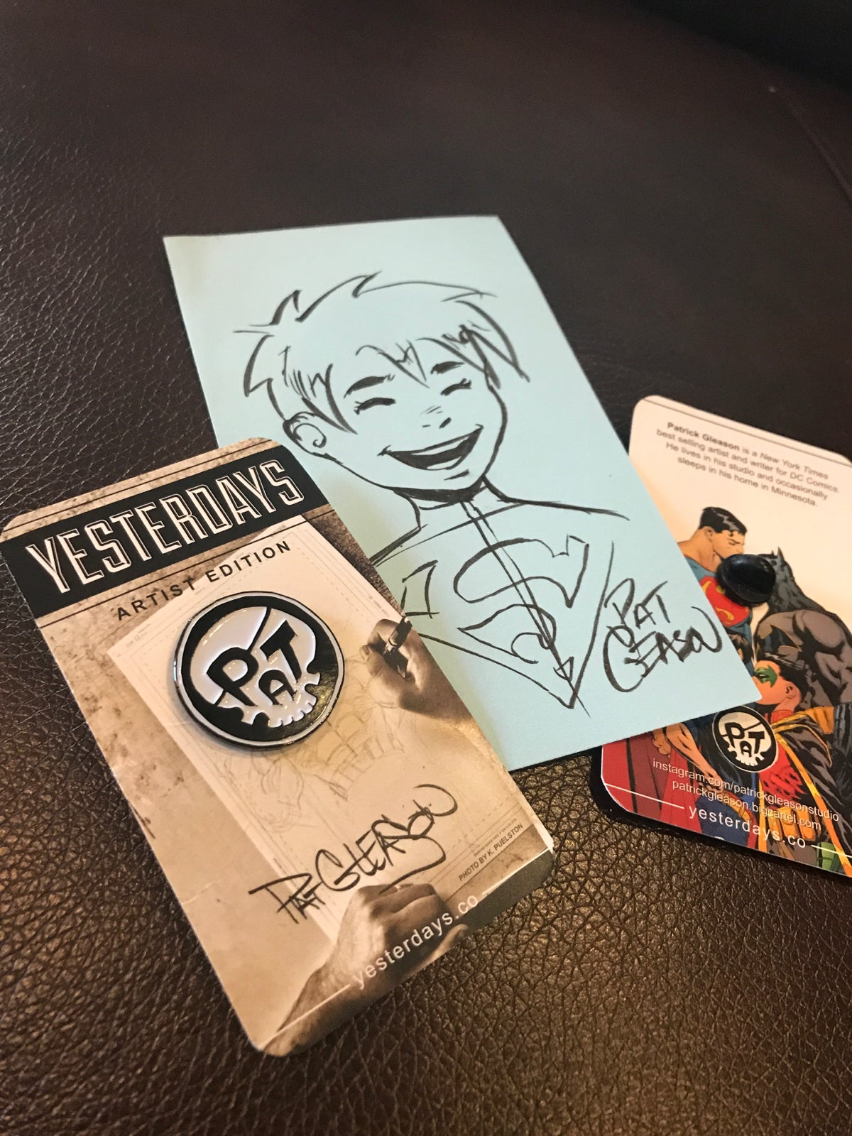 Image of PAT- Team Jon! Skull Signature Artist Edition pin and Superboy sketch bundle!