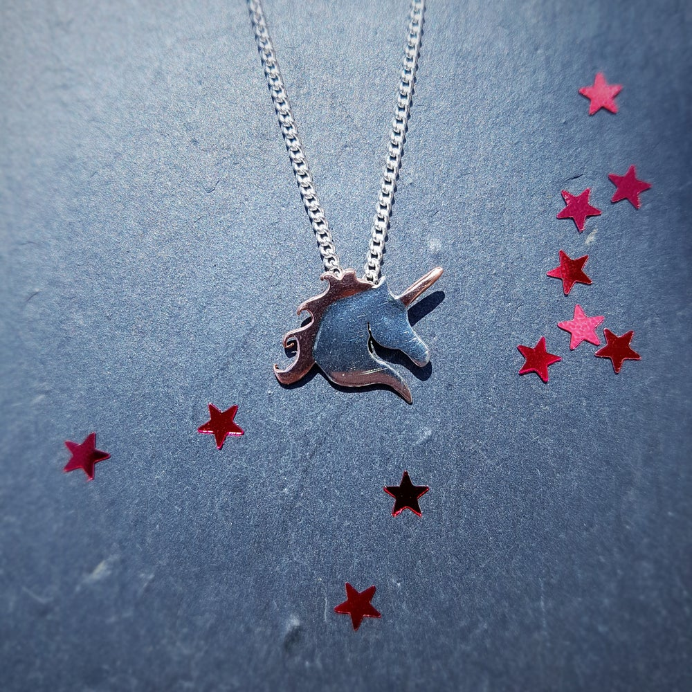 Image of Silver and Copper Unicorn Necklace