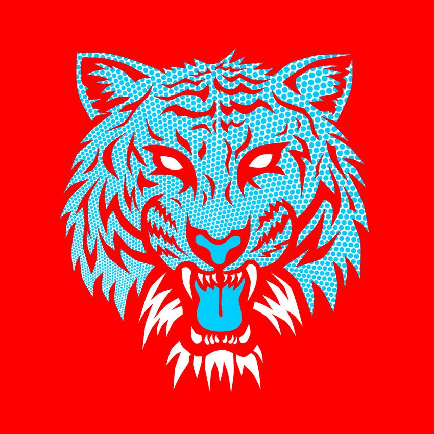 Image of Crazy Tiger Blue Dot on RED T-Shirt