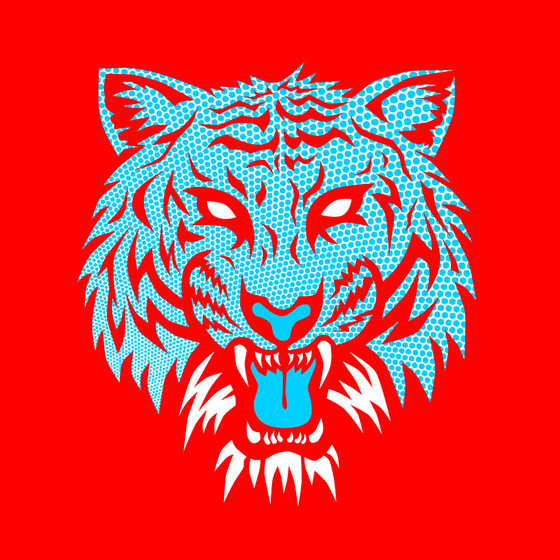 Image of Crazy Tiger Blue Dot on RED T-Shirt