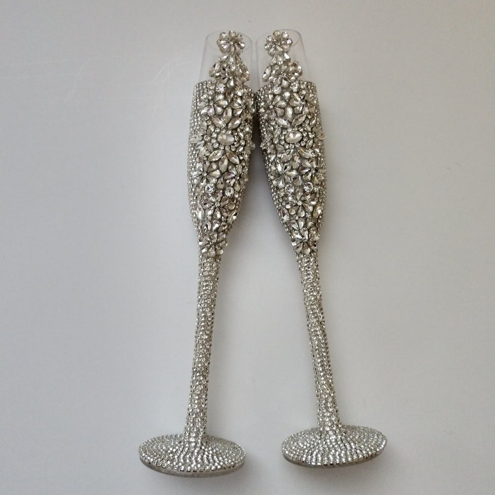 """Sandra""  Tall Bling Champagne Toasting Set (Available in other colors)"