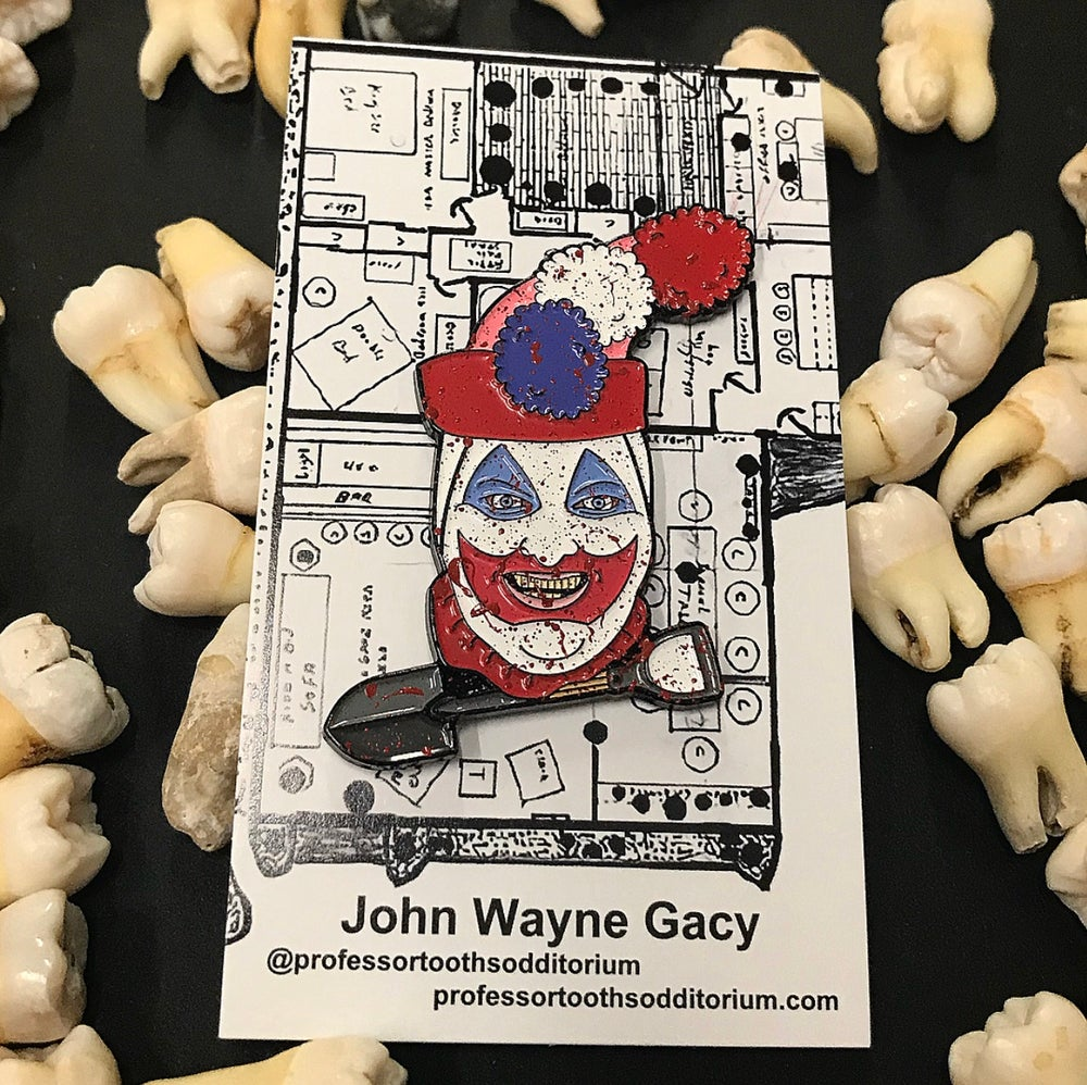 "Image of Serial Killer John Wayne Gacy ""Pogo The Clown"" Soft Enamel Pin"