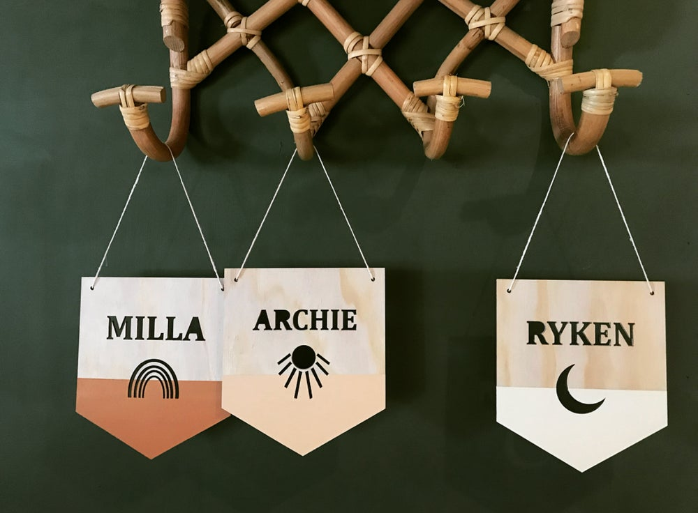 Image of MINI NAME FLAG or DISC   Choose from 9 shapes + colours