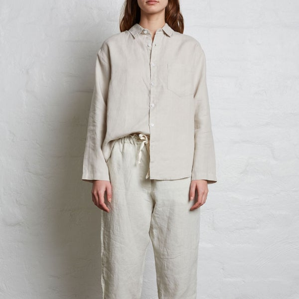 Image of Dove Grey Linen Long Sleeve Shirt