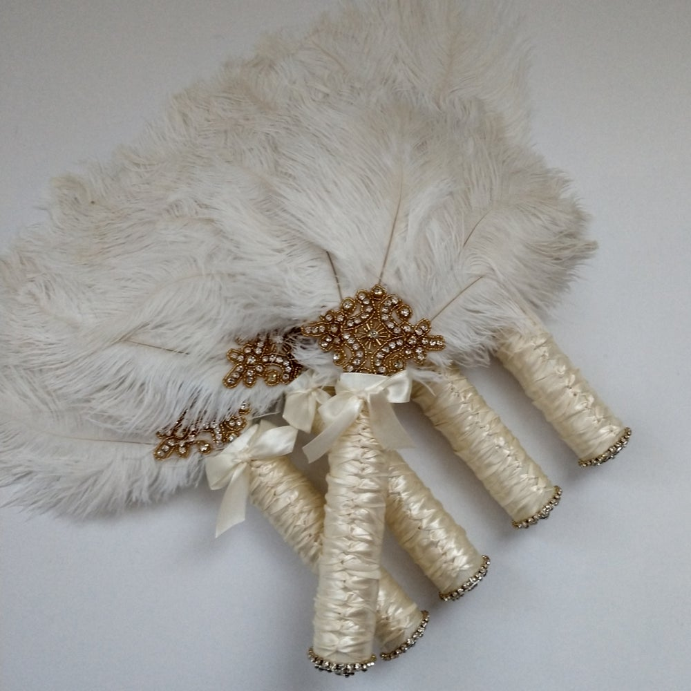 """Terri"" Bling Feather Fan ( available in other colors)"