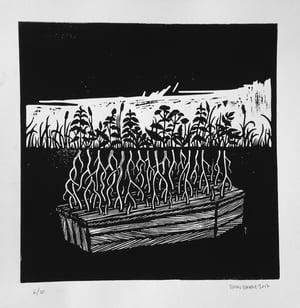 Image of Linoleum print - Den Sorte Ridder, print 2