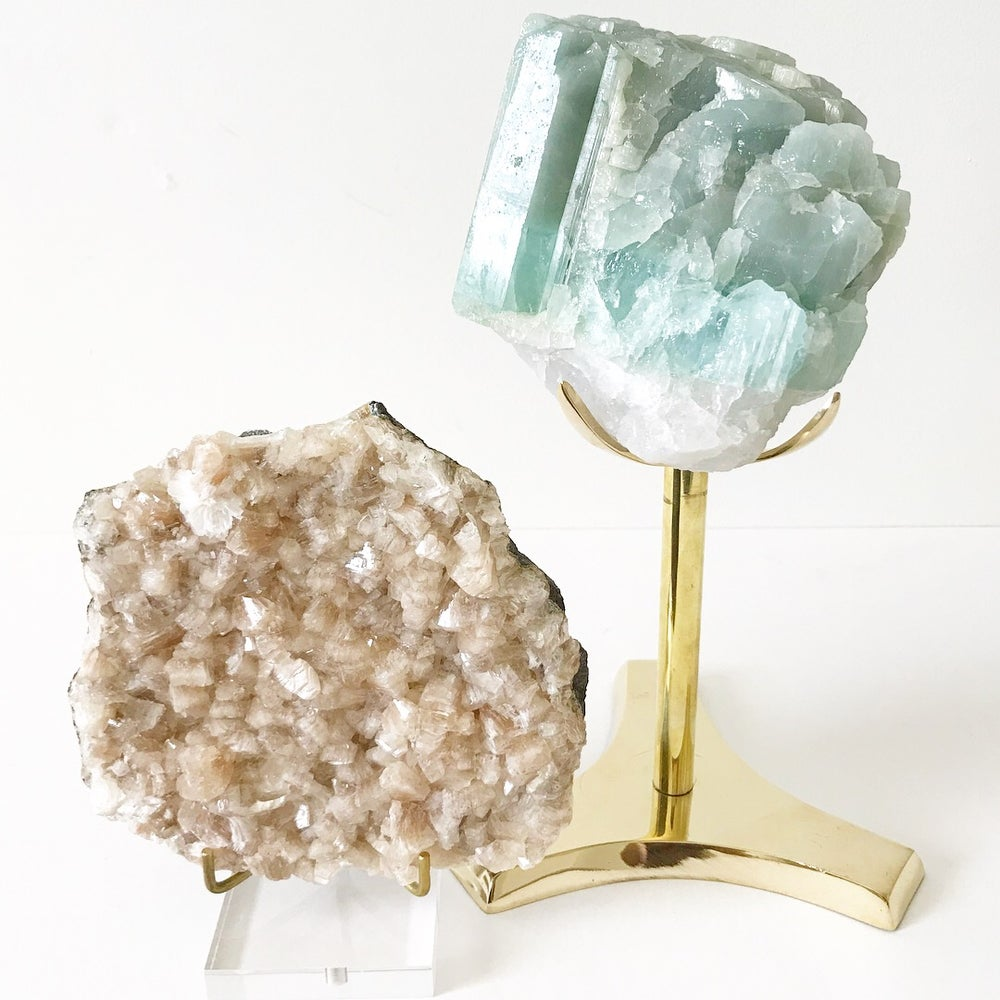 Image of Aquamarine no.96 Vintau Tall Brass Stand Pairing