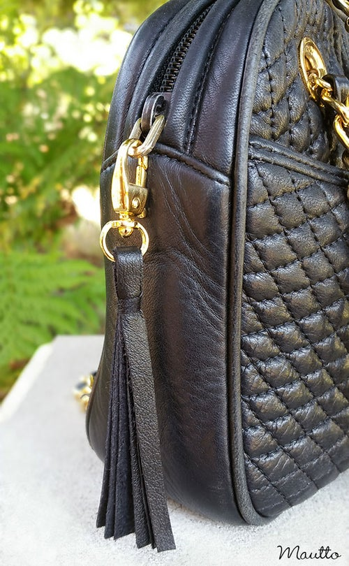 Image of Leather Zipper Pull / Mini Tassel Accessory / Handbag Tassel Charm - Choice of Leather Color