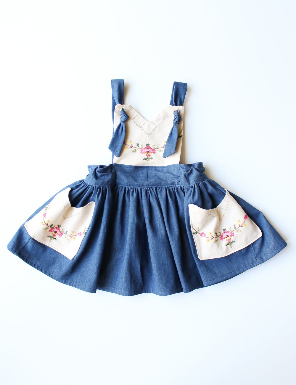 Image of Vintage Embroidered Pinafore Dress- Size 12/24 Months