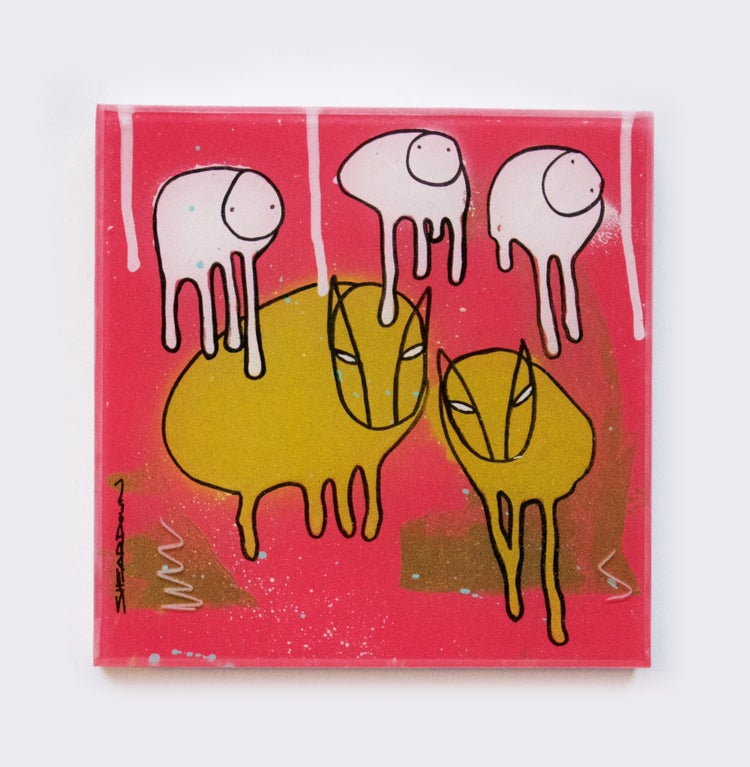 "Image of Raining Cows UNMASKED, ""PRIMITIVE FIRE"" 12""X12"""