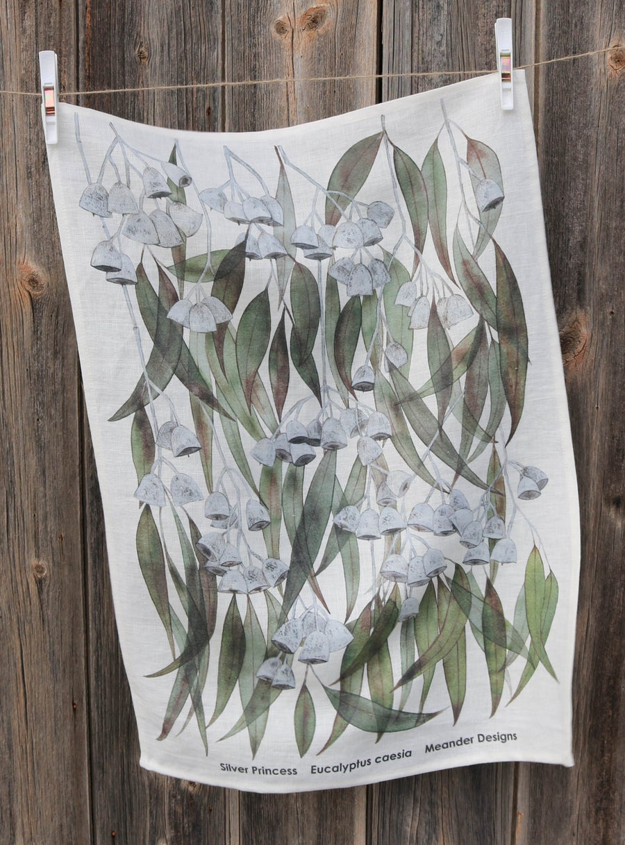 Image of Silver Princess Eucalyptus caesia Linen Tea Towel