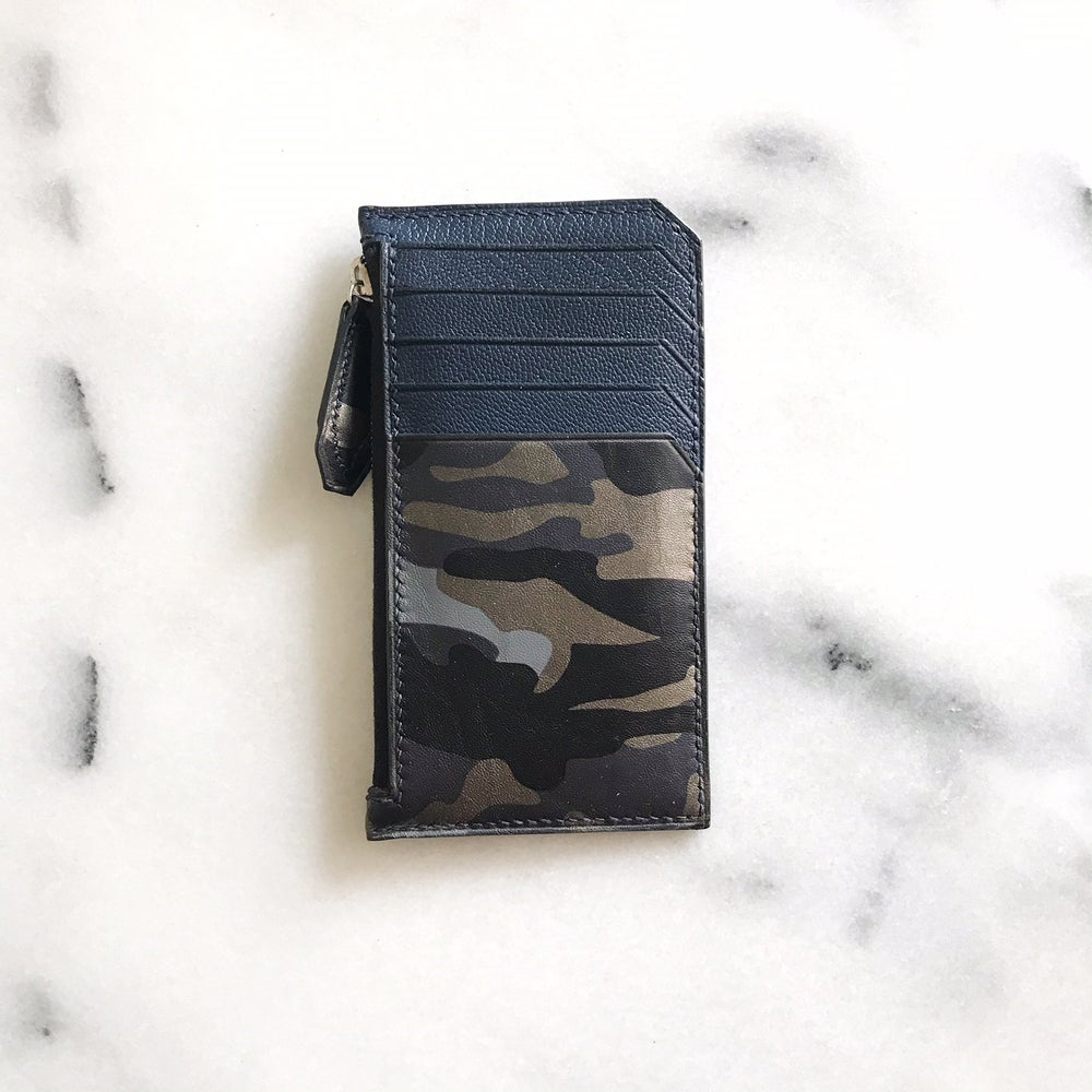 Image of Blue camouflage long zip wallet