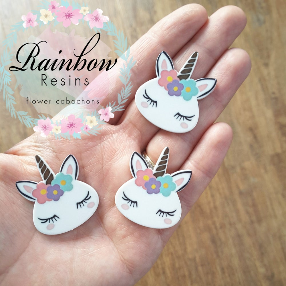 Image of Unicorn style 1 resin flatback x 2