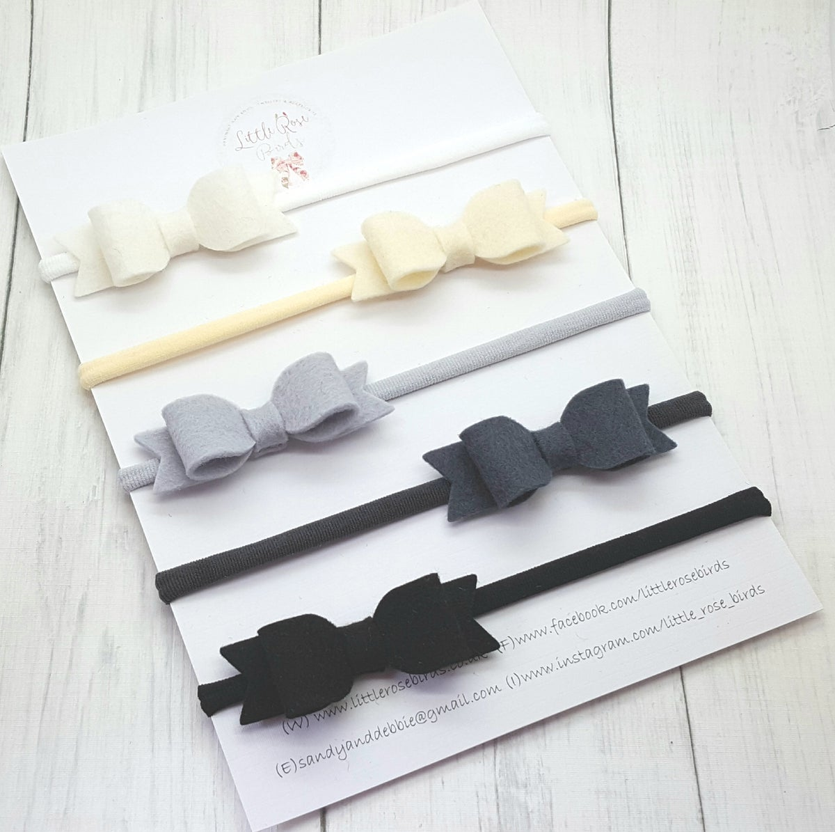 "Image of SET OF 5 Small 2.5"" Mono/Neutral Bow Set"