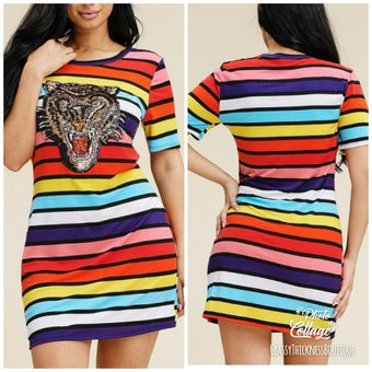 Image of Rainbow Tigress Stripped Dress