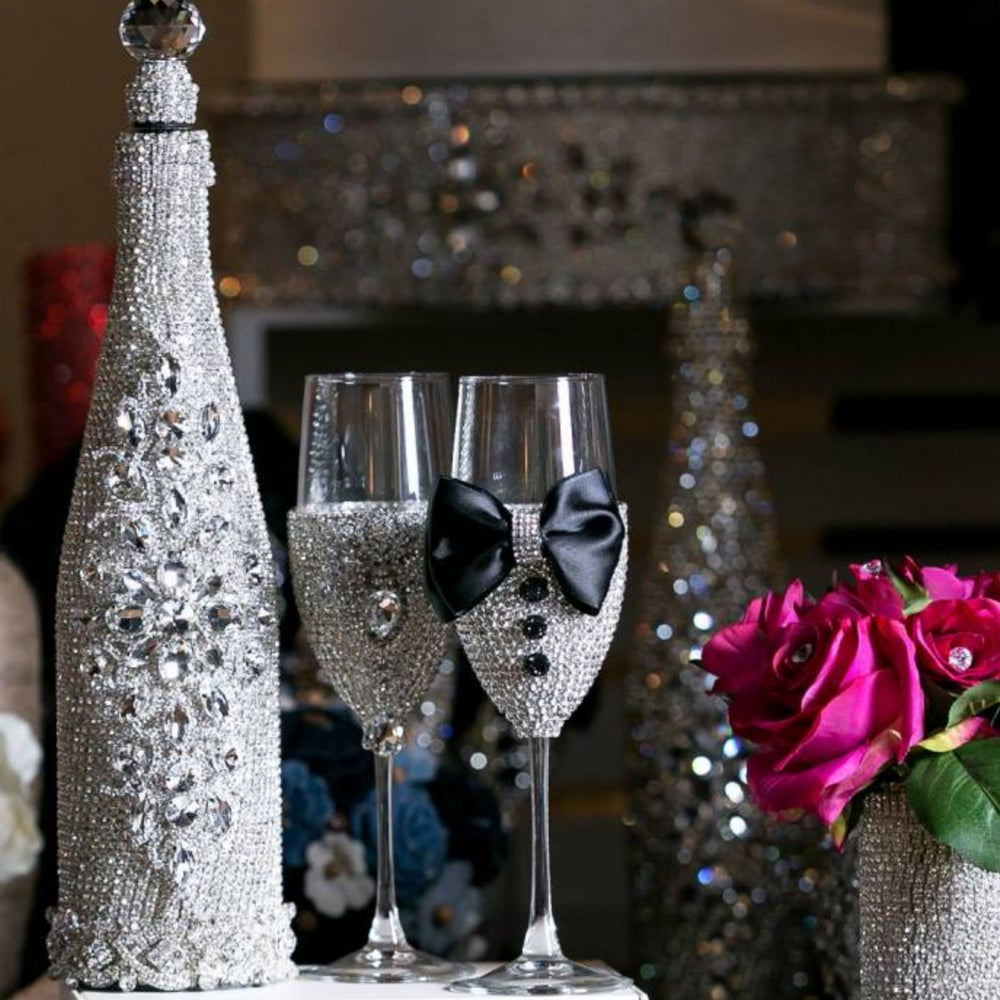 """Teresa"" Bling Champagne Glasses (Available in other colors)"