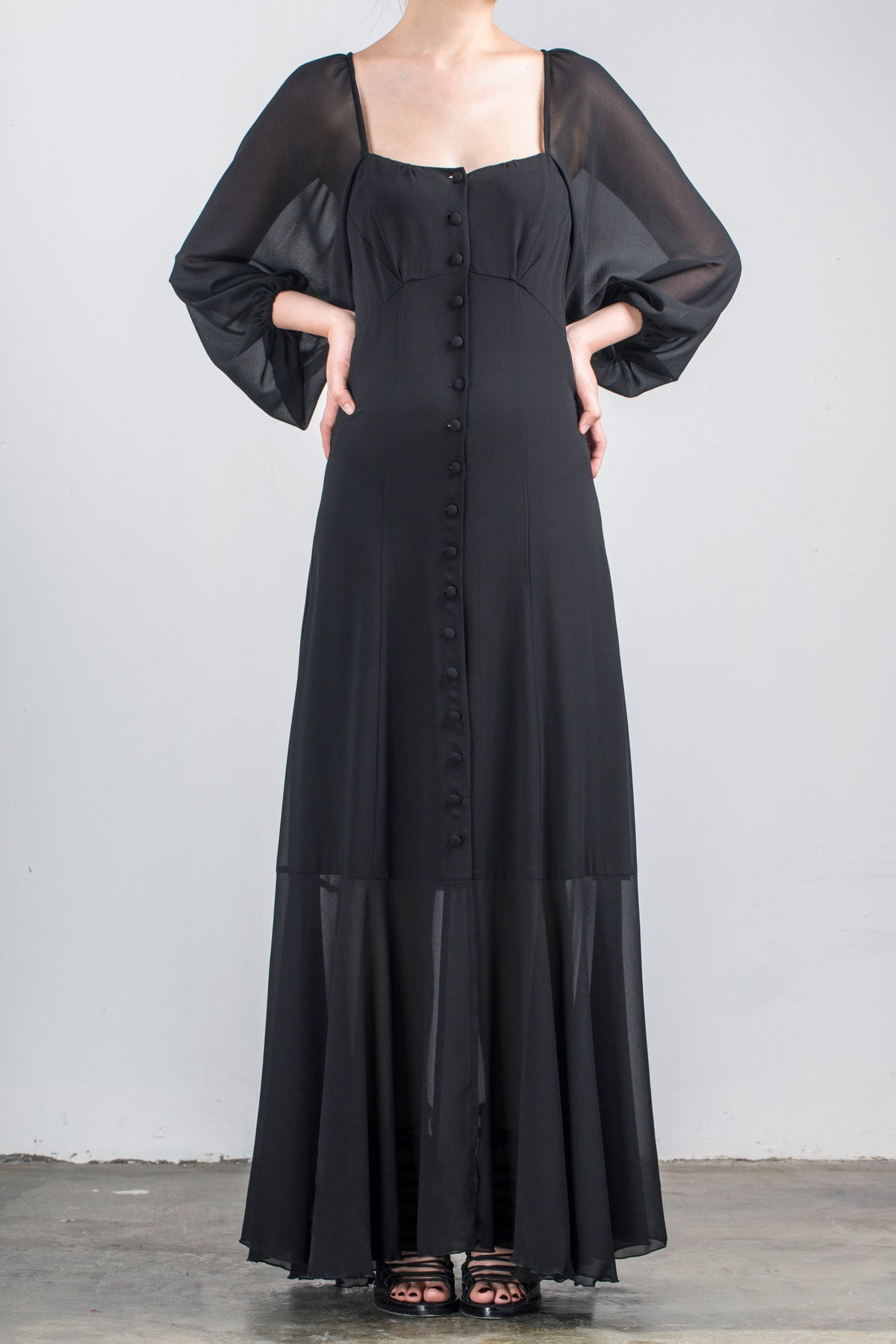Image of SS1809 - Cinzia Long Dress - Black