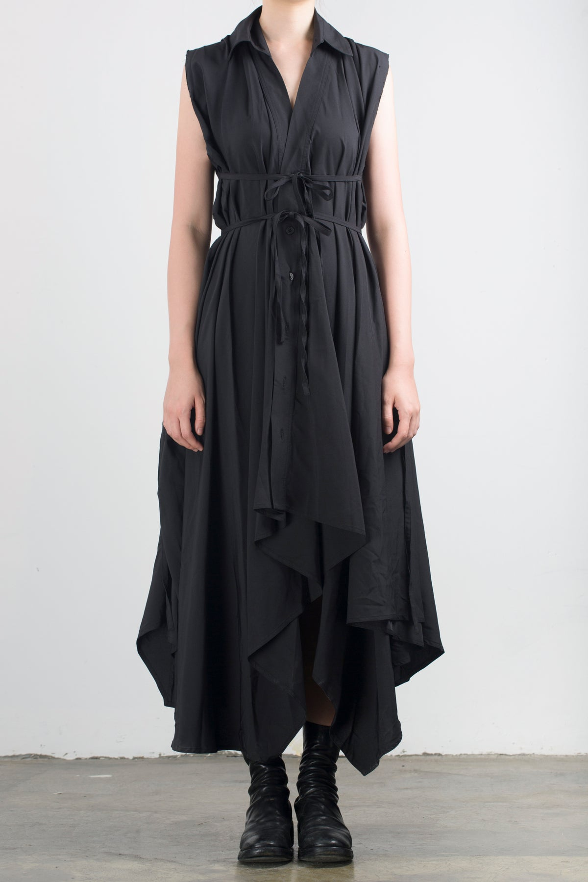 Image of Multi-Way Asymmetric Lace Up Sleeveless Dress Black