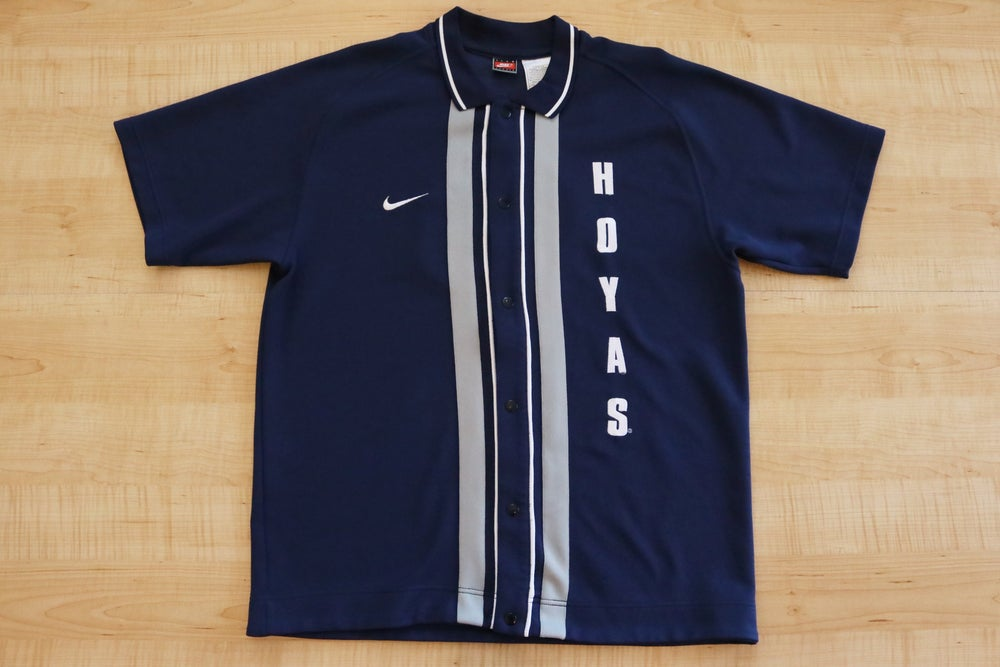 Image of Vintage 1990's Georgetown Hoyas Nike Button Up Warm Up Top Sz.L