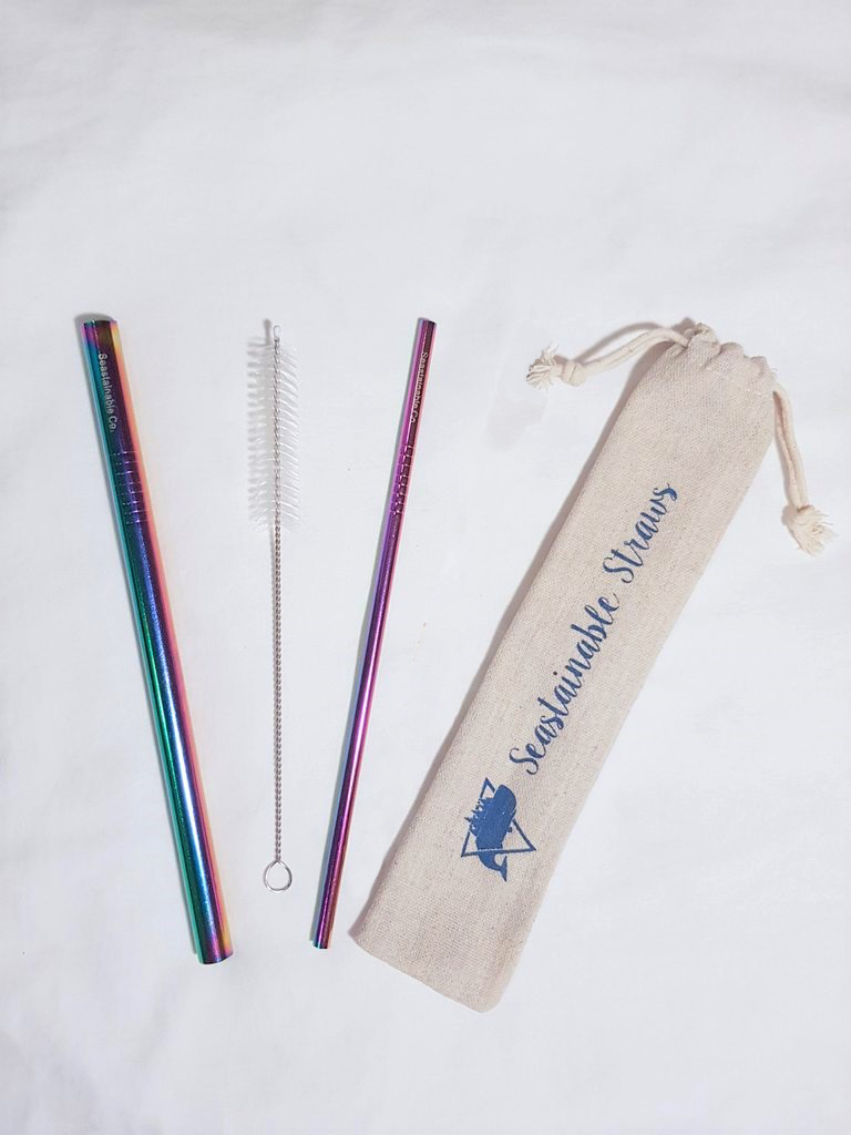 Image of Seastainable Iridescent Straw Set (with one straw cleaner)