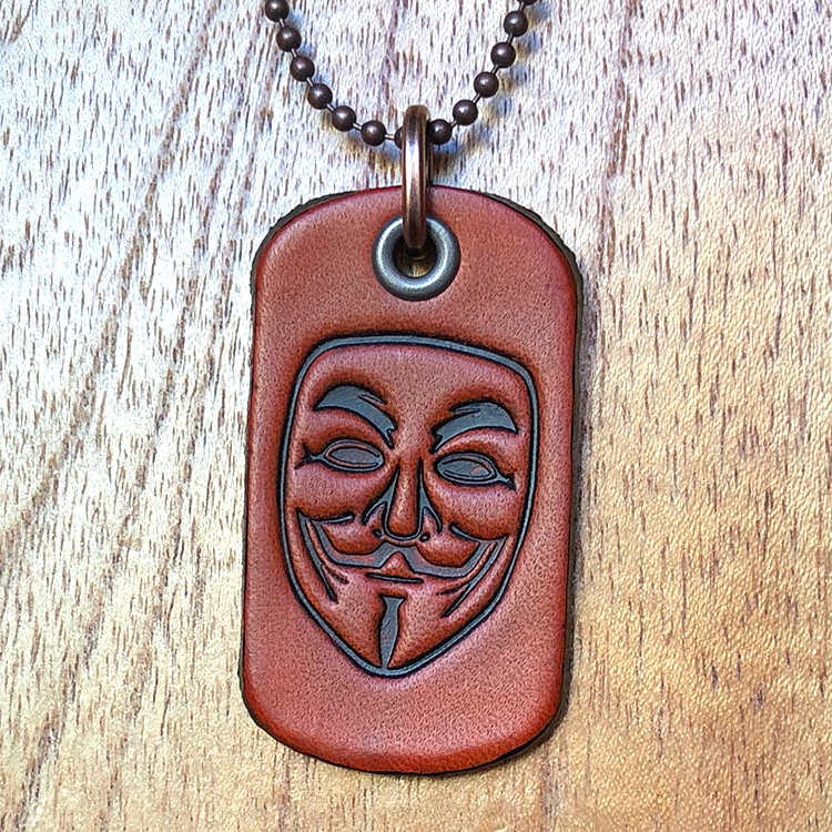 Image of Leather dog tag necklace with Guy Fawkes mask art