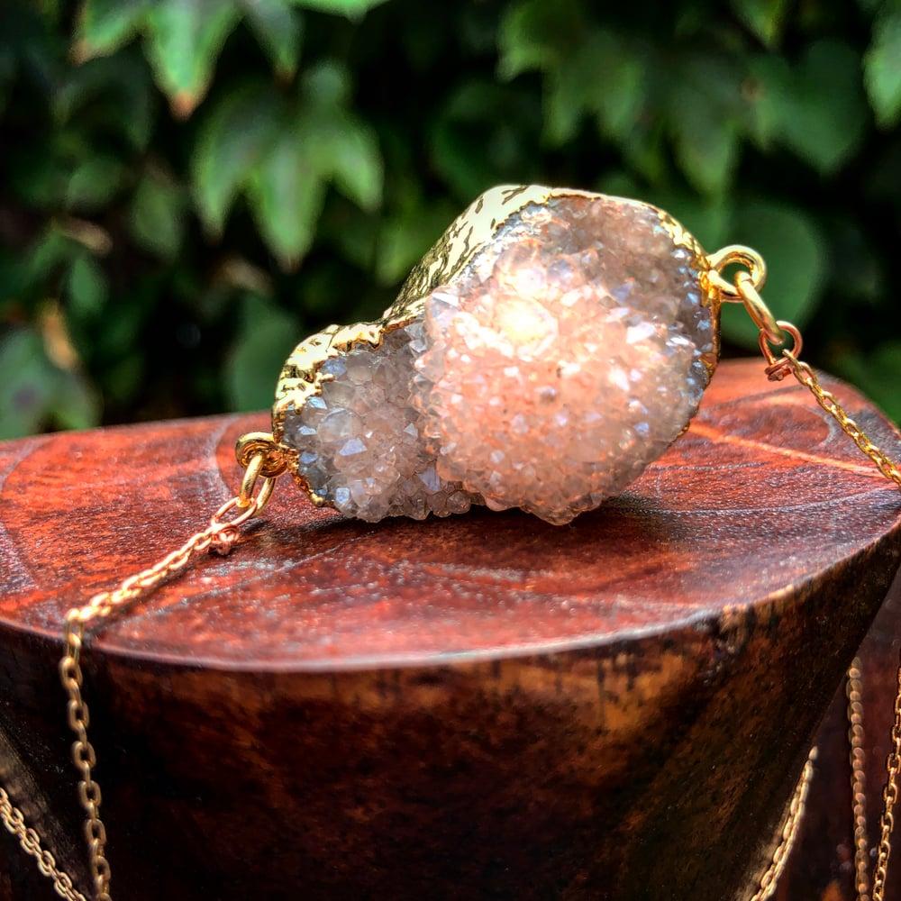 Image of Champagne Aura Quartz Geode Lariat
