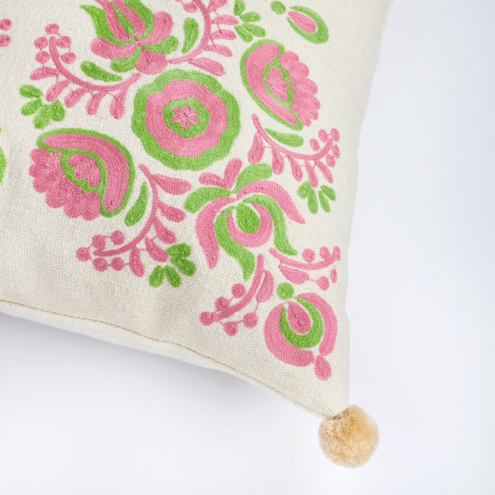 Image of J u h a n n u s floral embroidered cushion, blush pink& green