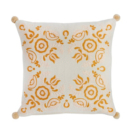 Image of J u h a n n u s Floral embroidered cushion / honey&peach