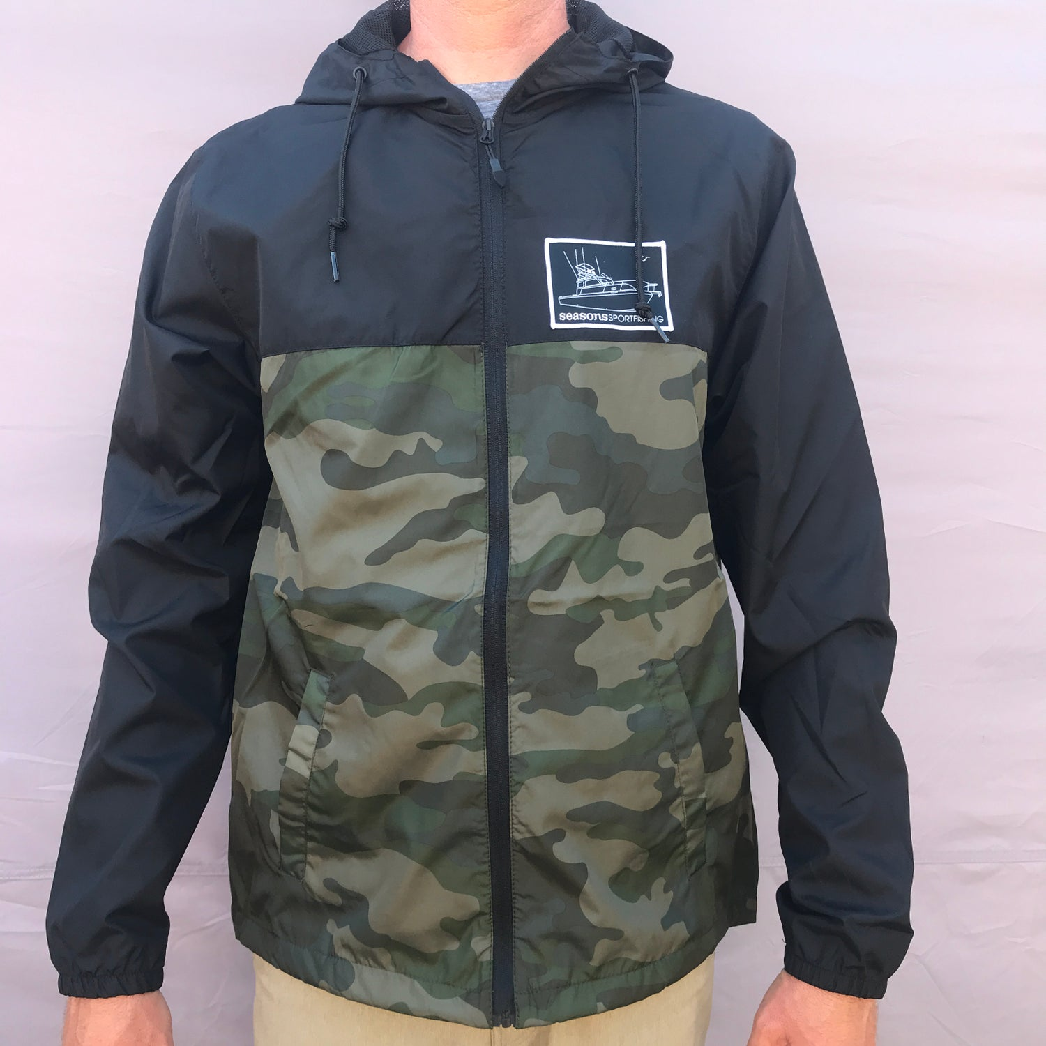 Image of SEASONS - LIGHTWEIGHT WINDBREAKER JACKET - BLACK - FOREST CAMO - MOTHERSHIP