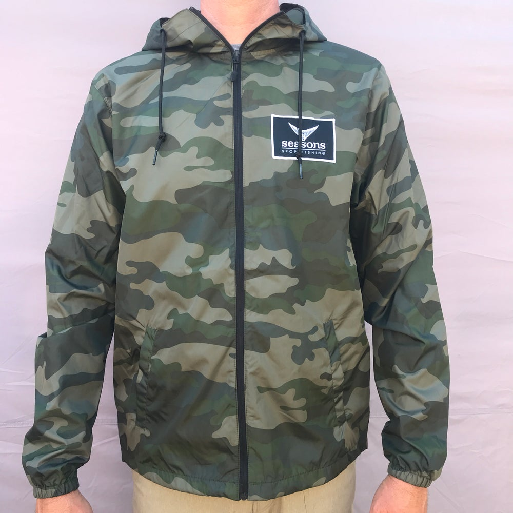 Image of SEASONS - LIGHTWEIGHT WINDBREAKER JACKET - FOREST CAMO - TUNA TAIL