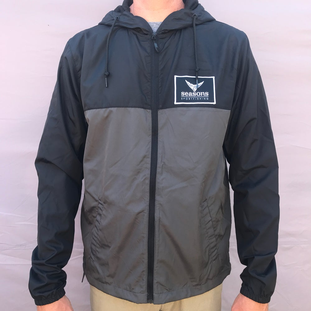Image of SEASONS - LIGHTWEIGHT WINDBREAKER JACKET - BLACK GRAPHITE - TUNA TAIL