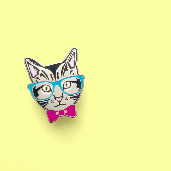 Image of  nerd kitty enamel pin - hipster cat - glasses bowtie cat pin