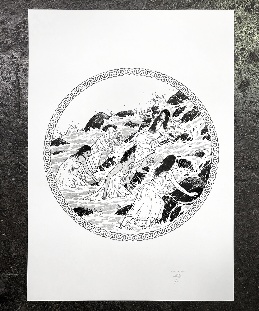 Image of 'UPSTREAM' Risograph print