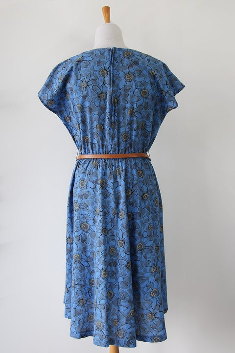 Image of SOLD Sketchy Flowers Button Dress