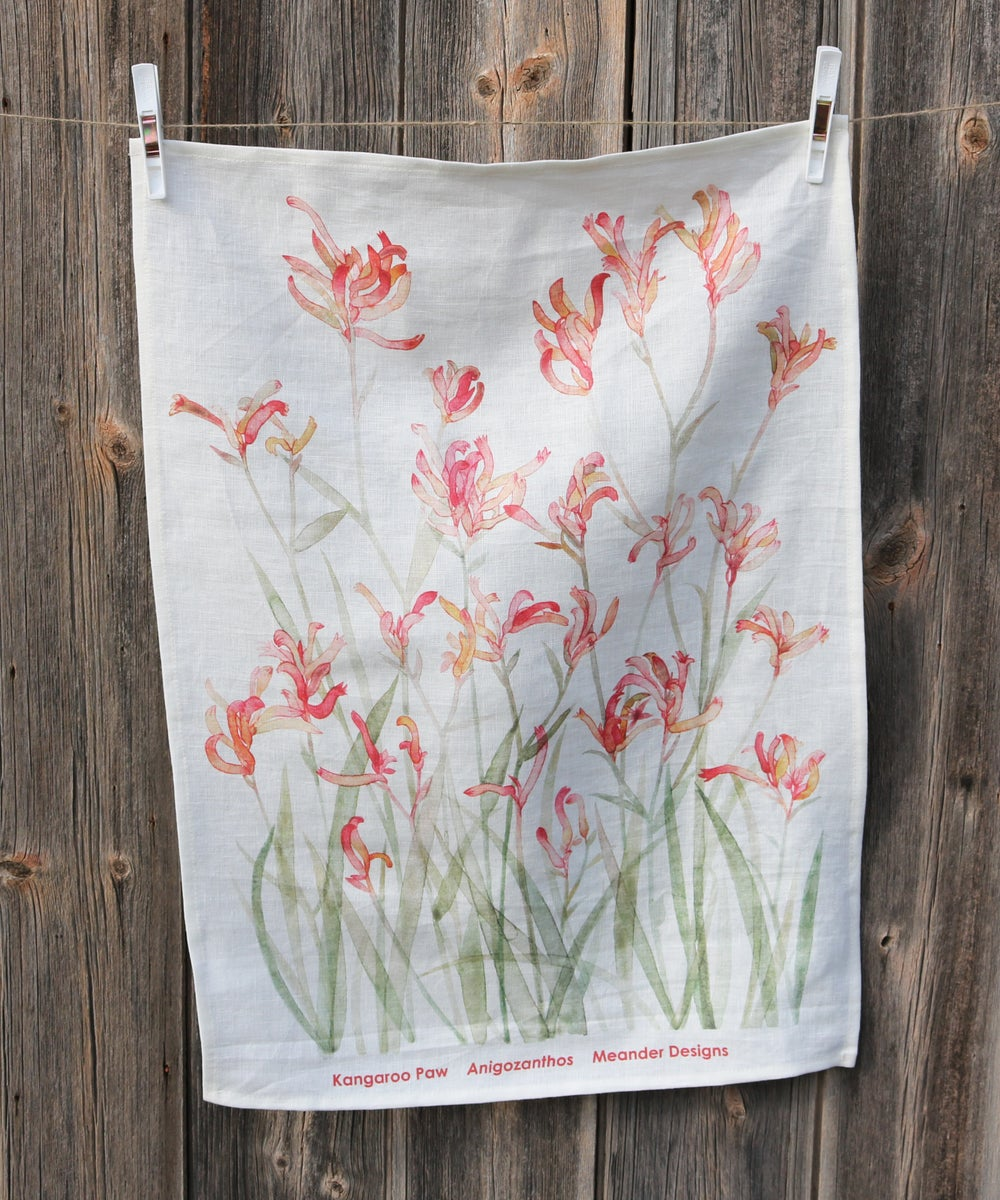Image of Sunset Kangaroo Paw Linen Tea Towel