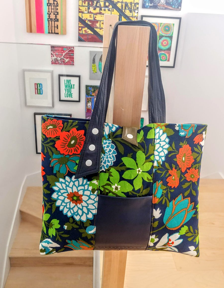 Image of Edit 2018 Summer Vintage Floral Fabric & Repurposed Leather Tote