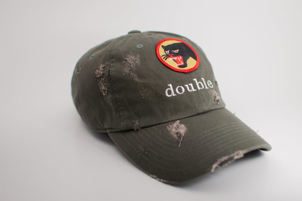 6b629b080 Black Panther Distressed Dad Hat (Olive)