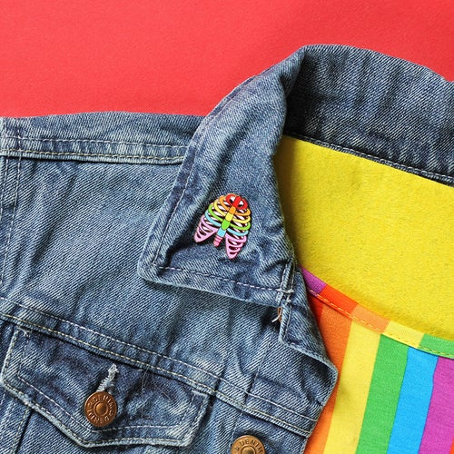 Image of NEW - Rainbow Ribs / Ribcage hard enamel pin - colourful - anatomy pin - lapel pin badge