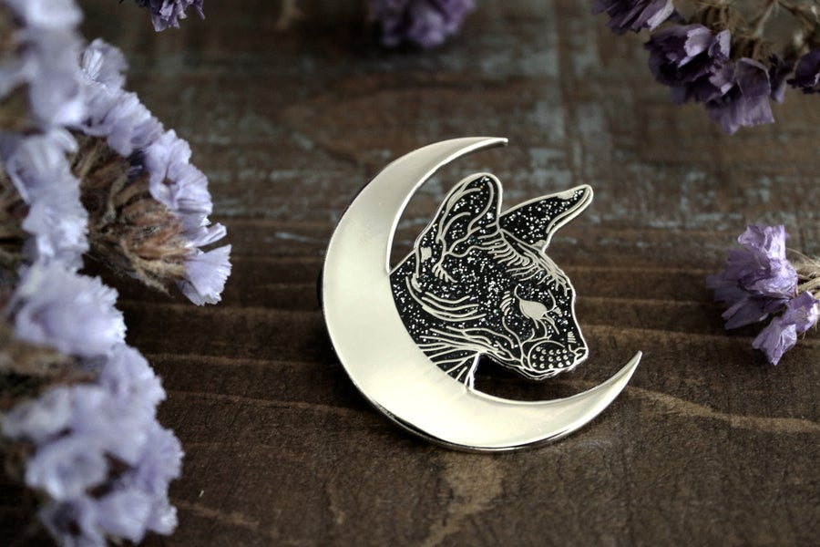 Image of Sphynx Moon Pin - Glitter *Limited Edition*