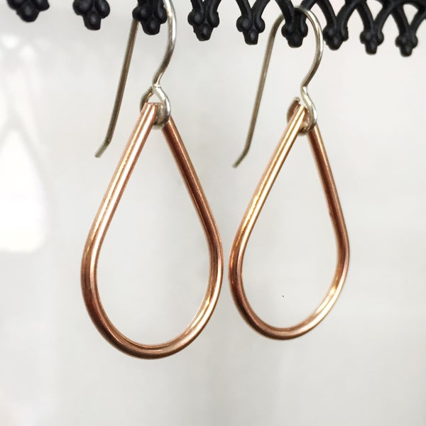 Image of Mini Copper Teardrop Earrings