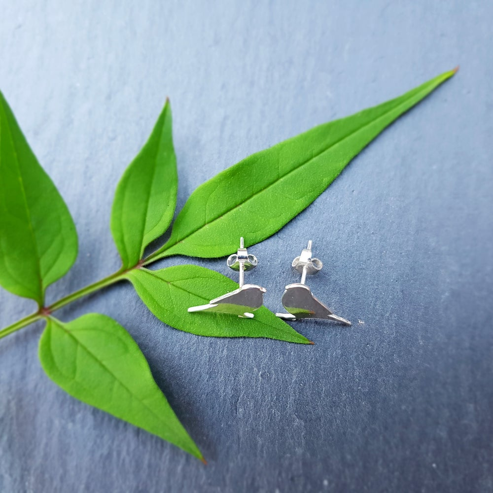 Image of Tiny Silver Sparrow Stud Earrings