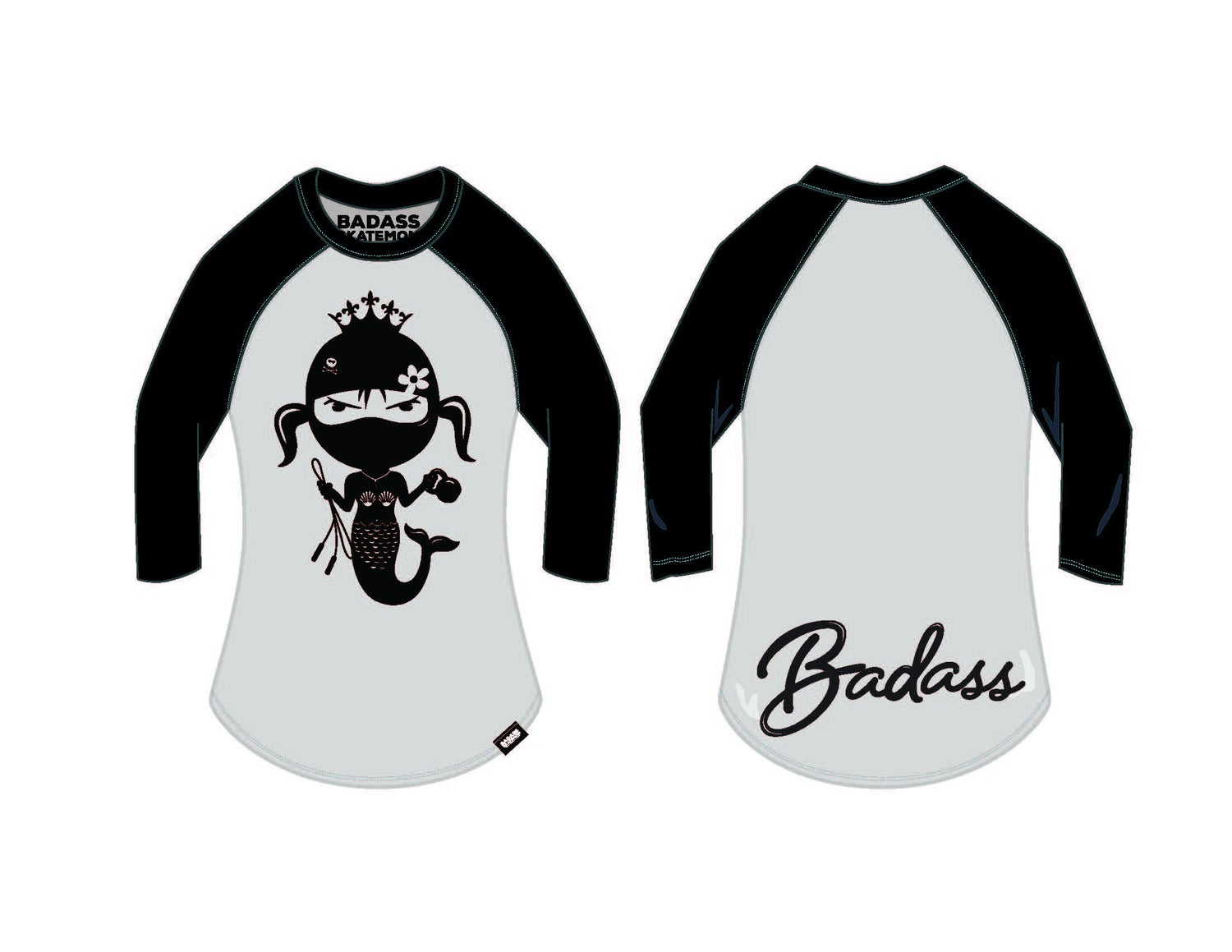 Image of Raglan 3/4 sleeve Unisex Baseball Mermaid