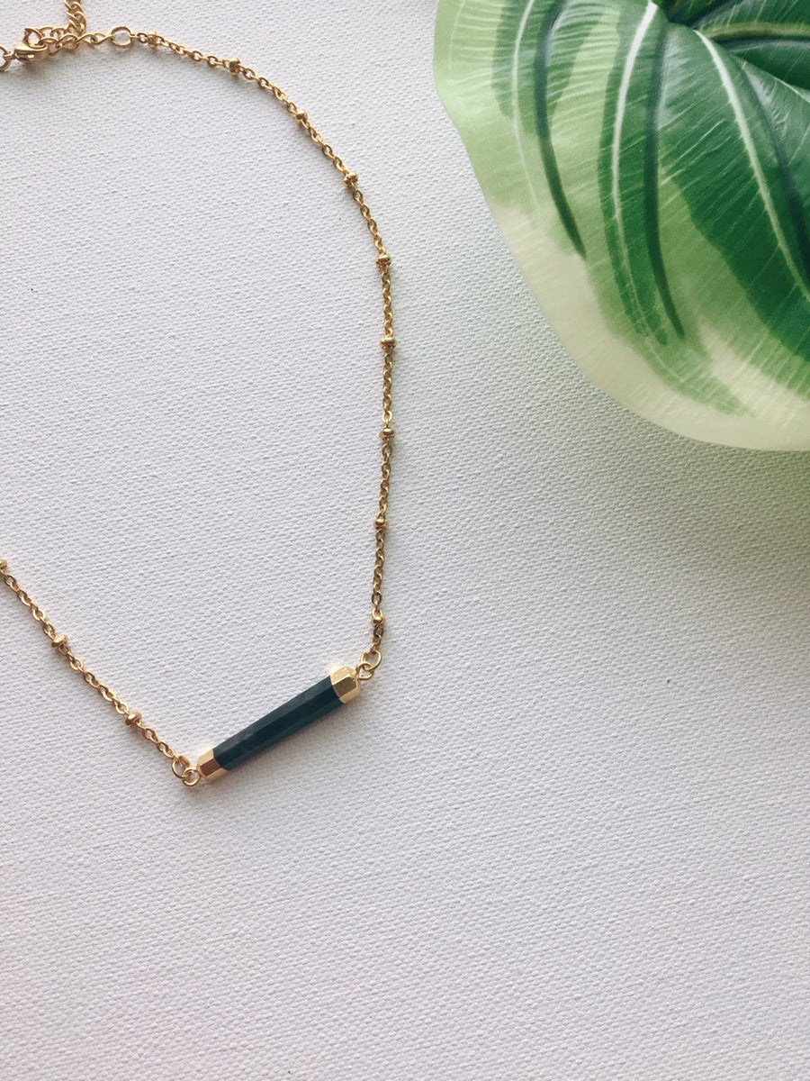 Image of BLACK BAR  • Black Onyx Bar Necklace