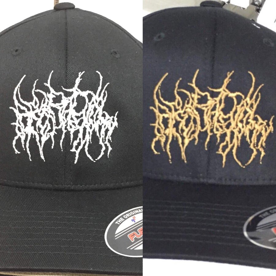 Image of Officially Licensed Heteradelphy Flexfit hat in white or gold!