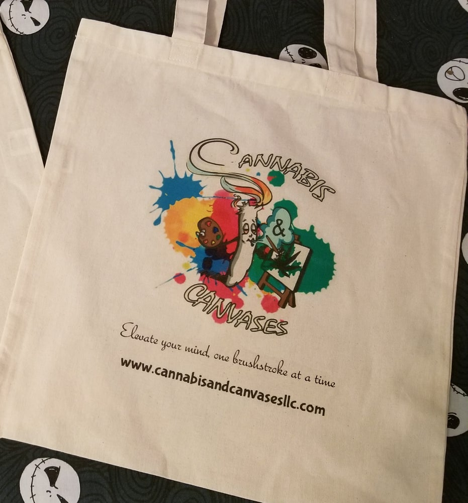 Image of Cannabis & Canvases Tote Bags