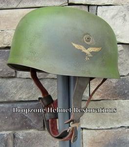 WWII German M-1938 FJ Helmet & Liner M38 Fallschirmjäger Camo Pattern SD
