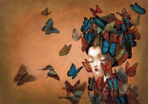 Image of Madam Butterfly Hand Embellished Print by Benjamin Lacombe